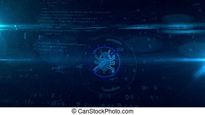 Antivirus symbol on cyber background. Looping tunnel ...