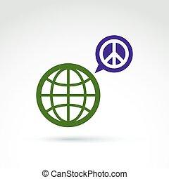antiwar, pianeta, p, vettore, verde, icona, bolla discorso,...