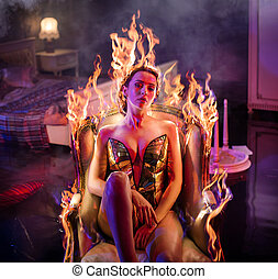 antiwue, burning, sensueel, relaxen, dame, leunstoel