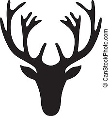antler - illustration of a deer head silhouette isolated on ...