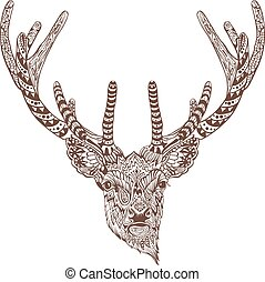 antlered, grafik, deer., zeichnung