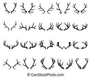 Black silhouettes of antlers of deer , vector