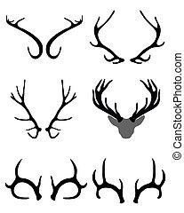 antlers of deer - Black silhouettes of antlers of deer ,...