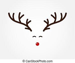 antlers, símbolo, rena, nose., natal, vermelho