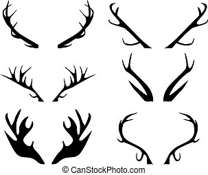 Antlers - Vector illustration of silhouettes of antlers
