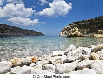 Antoni Queen (or Ladiko) beach at Rodos island, Greece