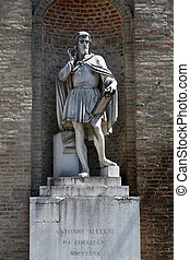 Antonio da Correggio. Garibaldi Square. Parma. Italy. -...