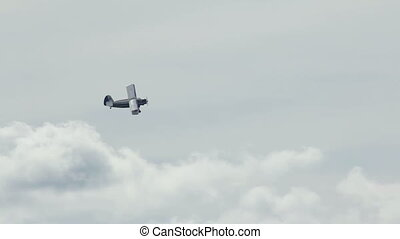 Antonov An-2 russian retro biplane aircraft flyby