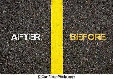 Antonym concept of AFTER versus BEFORE