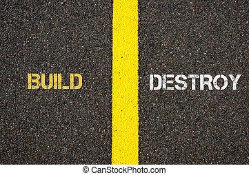 Antonym concept of BUILD versus DESTROY
