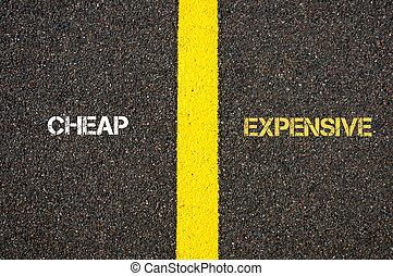 Antonym concept of CHEAP versus EXPENSIVE