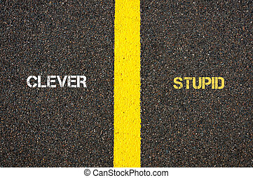 Antonym concept of CLEVER versus STUPID written over tarmac,...