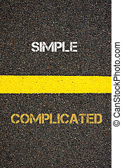 Antonym concept of COMPLICATED versus SIMPLE