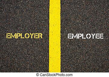 Antonym concept of EMPLOYER versus EMPLOYEE written over...