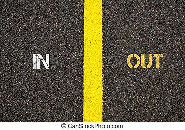 Antonym concept of IN versus OUT