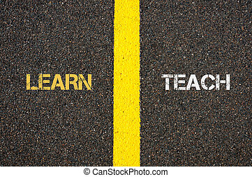 Antonym concept of LEARN versus TEACH