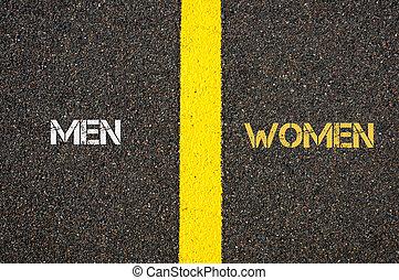 Antonym concept of MEN versus WOMEN