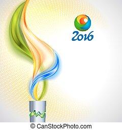 antorcha, con, llama, en, colores, de, el, bandera brasileña