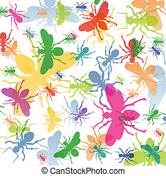 Ants colorful insects silhouettes illustration background vector