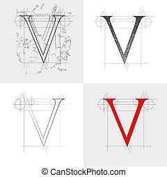 dekorative symbol V, vector illustration EPS10, clip art