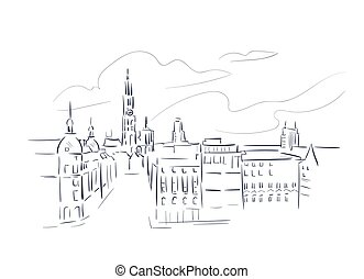 Antwerp Belgium Europe vector sketch city illustration line ...