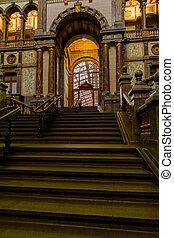 ANTWERP, BELGIUM - October 2, 2019: Interior of the monumental Central Railway Station in Antwerp (Centraal Station Antwerpen), Belgium.