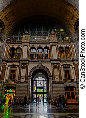 ANTWERP, BELGIUM - October 2, 2019: Unknown people on Interior of the monumental Central Railway Station in Antwerp (Centraal Station Antwerpen), Belgium.