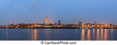 Antwerp blue hour panorama - Beautiful cityscape panorama of...