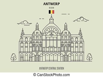 Antwerp Central Station, Belgium. Landmark icon in linear ...