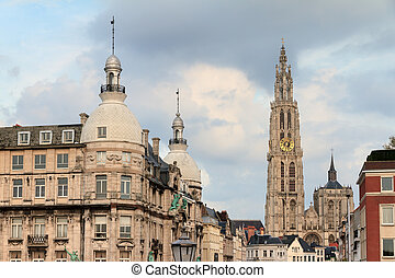Antwerp city cathedral - Beautiful view of the Cathedral of...
