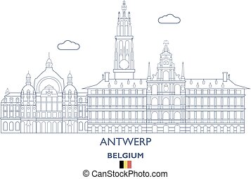 Antwerp City Skyline, Belgium - Antwerp Linear City Skyline...