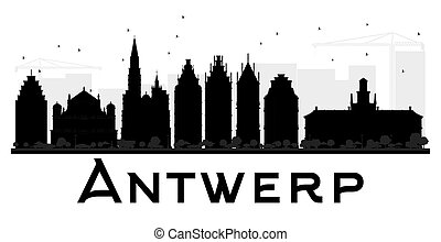 Antwerp City skyline black and white silhouette.