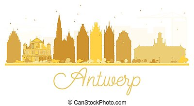 Antwerp City skyline golden silhouette.
