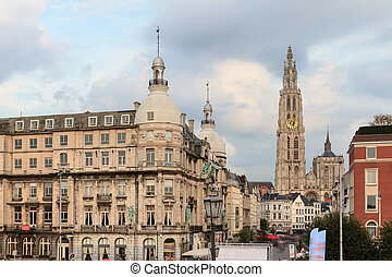 Antwerp cityscape - Beautiful view of the Cathedral of Our...
