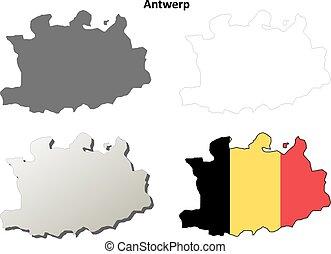 Antwerp outline map set - Belgian version