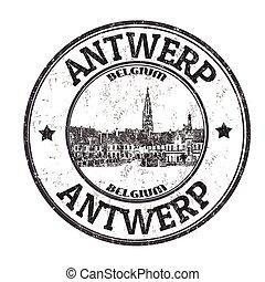 Antwerp sign or stamp - Antwerp grunge rubber stamp on white...