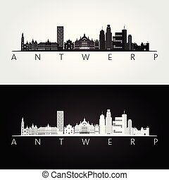 Antwerp skyline and landmarks silhouette