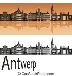 Antwerp skyline in orange background in editable vector file