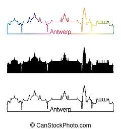 Antwerp skyline linear style with rainbow.eps