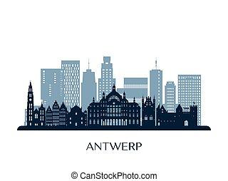 Antwerp skyline, monochrome silhouette.