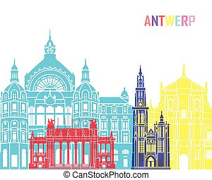 Antwerp skyline pop in editable vector file