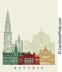 Antwerp skyline poster in editable vector file