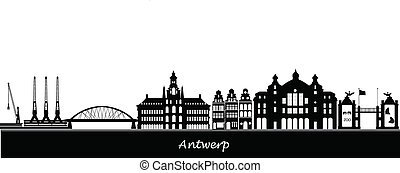 antwerp skyline with station zoo and industry
