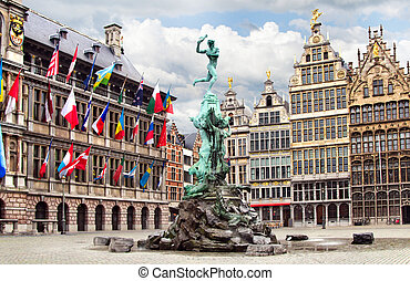Antwerp. City Hall, old houses and fountain by Brabo