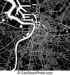 Antwerp Vector Map, Artprint. Black Landmass, White Water ...