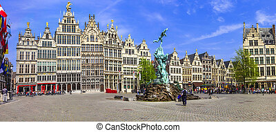 antwerpen, cuadrado, pueblo viejo, belgium.
