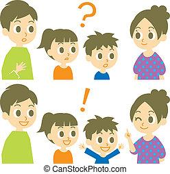 antwoord, gezin, vraag