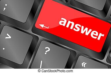 antwoord, knoop, computer sleutel, toetsenbord