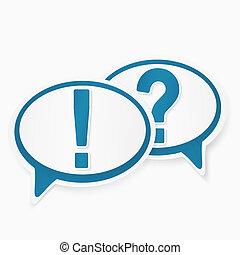 antwoord, toespraak, bellen, vraagtekens