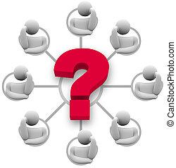 antwoord, vraag, brainstorming, groep